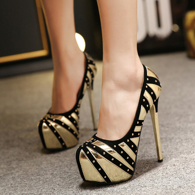 Sexy Slip On Women Pumps Fashion Rivet High Heel Women Shoes Leather Platform Shoes Women Thin Heel