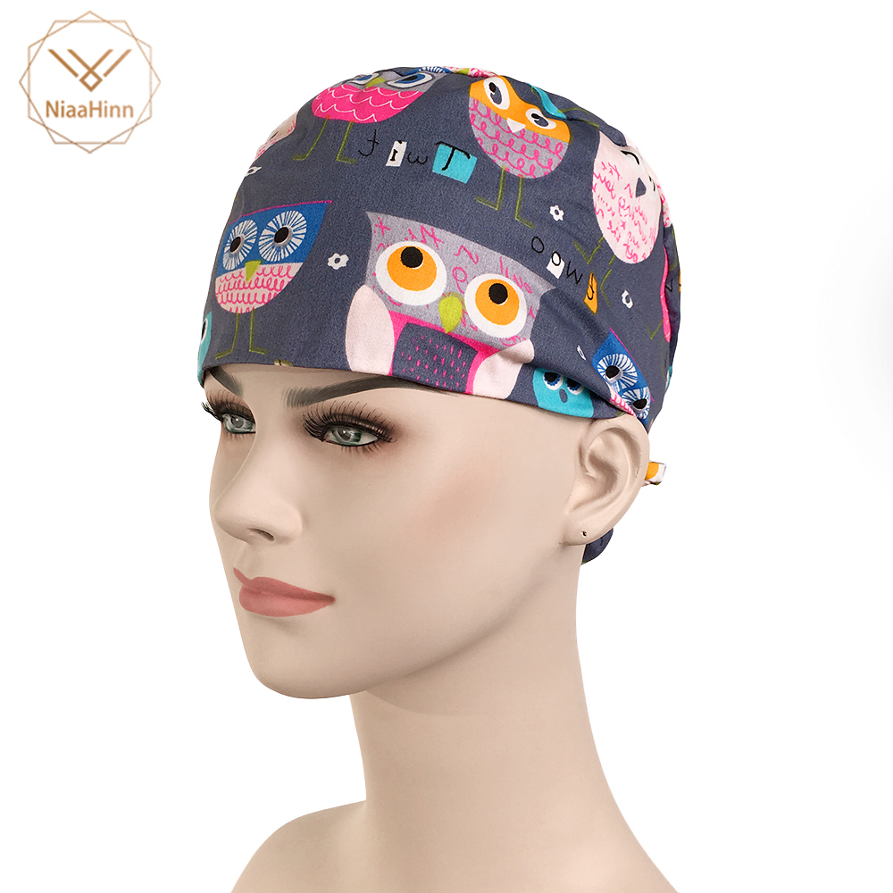 New Cartoon Owl Print Beauty Salon Hats Lab Hospital Medical Surgical Cap Medical Scrub Operation Caps Adjustable Surgical Cap