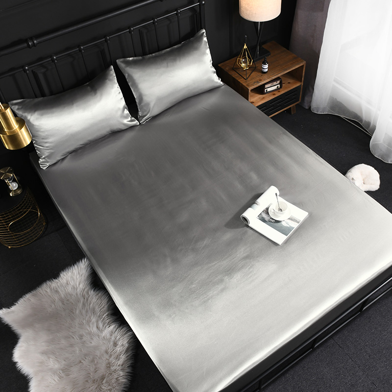 MECEROCK New Coming Gray Textile Satin Silk Bed Fitted Sheet Soft Elastic Solid Color  Mattress Cover King Queen Twin Full Size