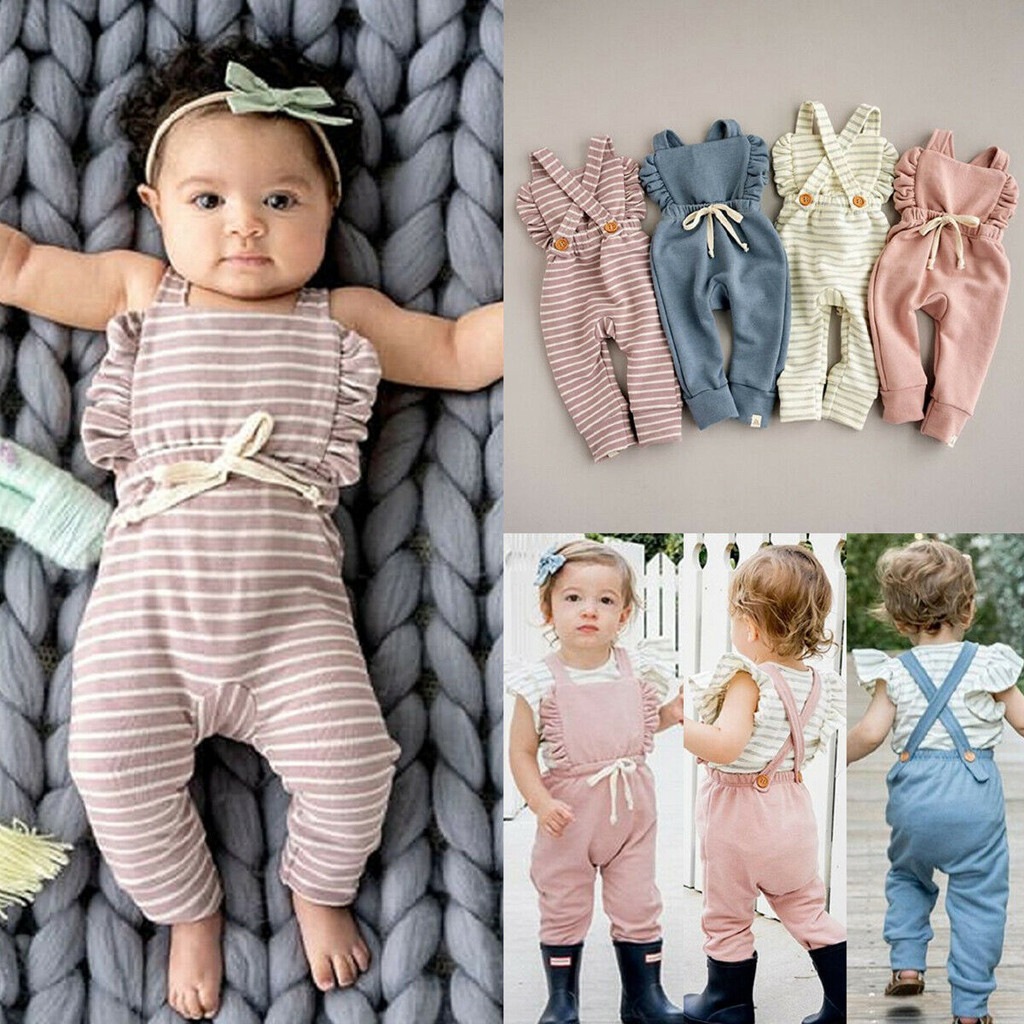 4Color Striped   Romper   Ruffle Infant Toddler Newborn Baby Girl Boy Backless   Romper   Overalls Jumpsuit Kids Clothes 2019 Clothes