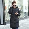 Roupas 2016 Novas Mulheres Jaqueta Moda Inverno do Revestimento das Mulheres Outwear Quente Algodão-Acolchoado Casaco Longo Casaco Fino Senhora Tops B191