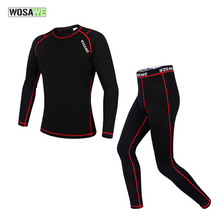 Roupa ciclismo WOSAWE New High Quality Men Thermal Long Johns Sports Winter Warm Underwears Outdoor Suit Cycling Clothings