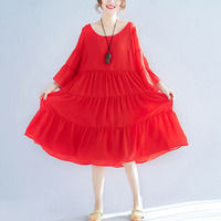Women's Female Red Dresses Flare Sleeve Spring Summer Layered Plus Size Chiffon Dress for Women