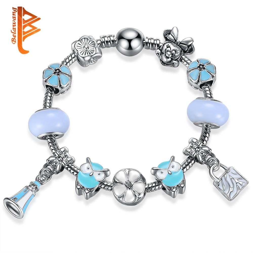 Belawang Fashion 925 Silver Animal Owl Charm Bracelets & Bangles Fashion  Original Diy Daisy Minnie Beads