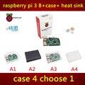 Em estoque novo pacote inclui raspberry pi Raspberry PI 3 modelo B 3 modelo pi B + caso + dissipador de calor 3 com WI-FI e bluetooth