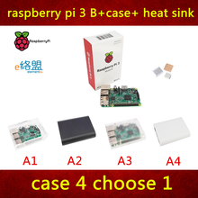 in stock new Raspberry PI 3 model B package include raspberry pi 3 model B + case + heat sink pi 3 with WIFI and bluetooth(China)