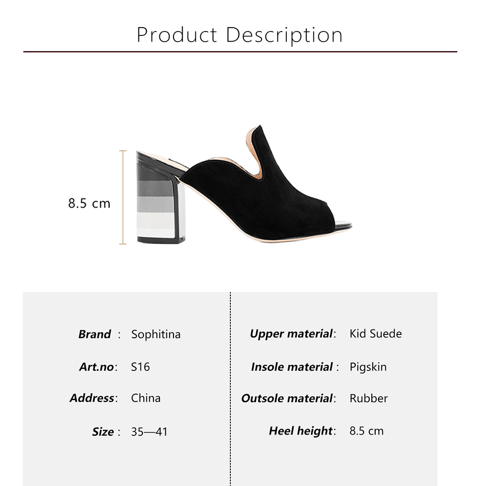 Bureau Black Coloré Cuir Sophitina Haute La Femmes Carrés Talons Chaussures Parti Sexy S16 À Main Élégantes Noir Pompes Lady Sandales Véritable Faites F1qxnw1vXa