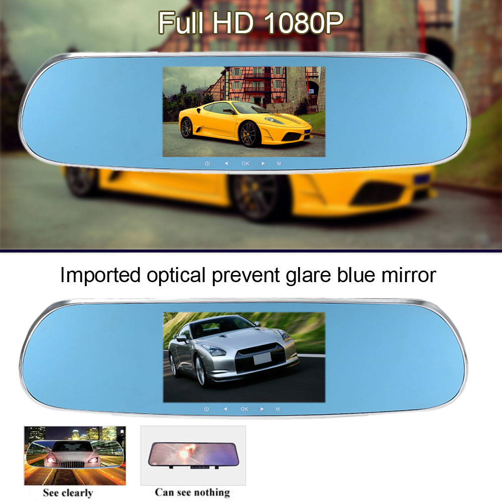 Professional 5''Inch 1080P Android Car Smart System GPS Navigation WIFI Car Rearview Mirror Dual Lens Car DVR Camera Recorder