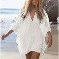Blusa de renda de proteção solar praia roupas de Verão casuais mais solto tamanho mulheres magras encabeça fêmea sexy biquíni blusa sol camisa