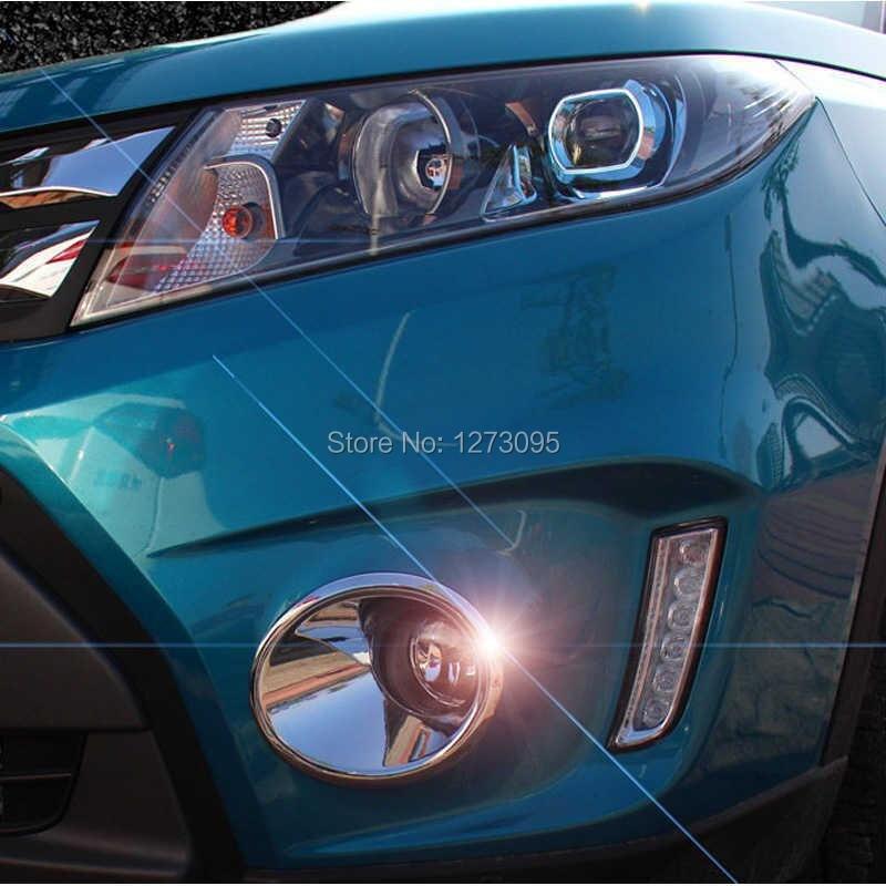 For 2016 Suzuki Vitara ABS Chrome Front Fog Light Lamp Cover Trim Fog Lamp Frame Car