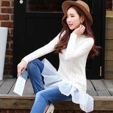 Original 2016 Brand Autumn and Winter Pullover White Ruffle O-neck Slim Fashion Long Knitted Sweater Women Wholesale