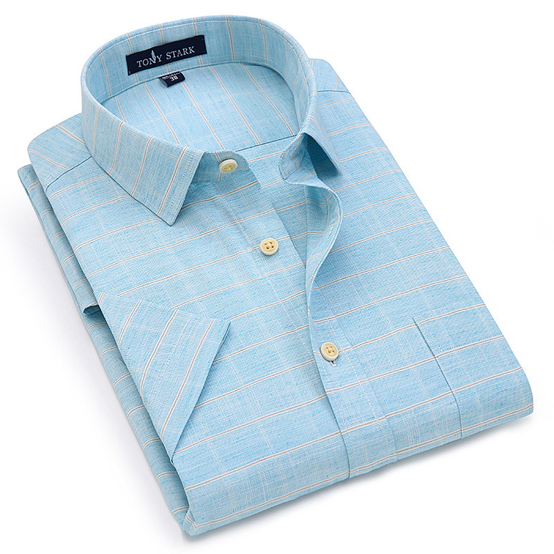 New Summer Short Sleeve Turndown Collar Linen Soft Comfortable Cool Plaid Print Solid Business Mens Shirts 9colors S To 4xl Size