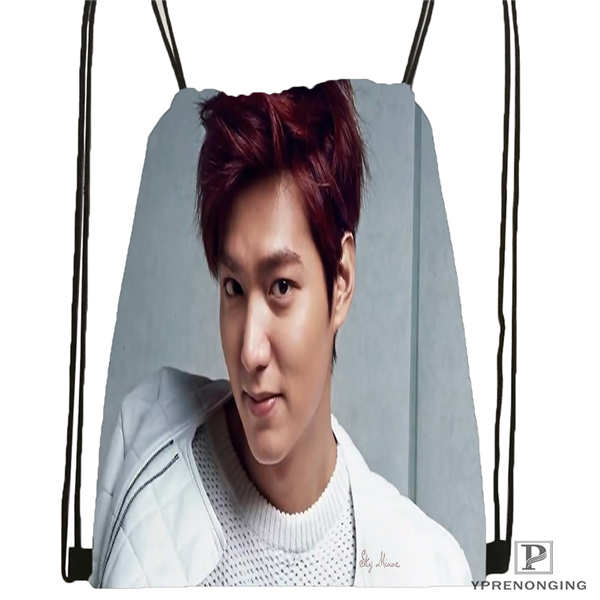 Custom Lee-Min-Ho-Actor- Drawstring Backpack Bag Cute Daypack Kids Satchel (Black Back) 31x40cm#180611-01-46