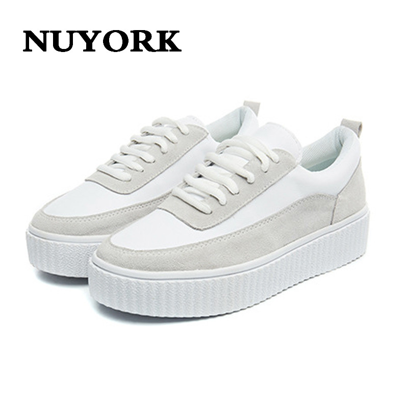 NUYORK 2018 spring and autumn tide shoes casual shoes new wild shoes fashion scrub leather color loose cake women white shoes 2017 new spring imported leather men s shoes white eather shoes breathable sneaker fashion men casual shoes