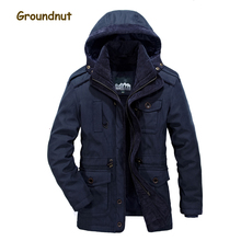 Groundnut Brand True Twin Set Winter Parkas Men Spray-bonded Cotton Coats Outerwear Man Detachable Hood Jackets With Tank cheap Hat Detachable STANDARD Polyester Casual 2 kgs zipper Broadcloth REGULAR nbl100 Solid Pockets Zippers Spray-bonded Wadding