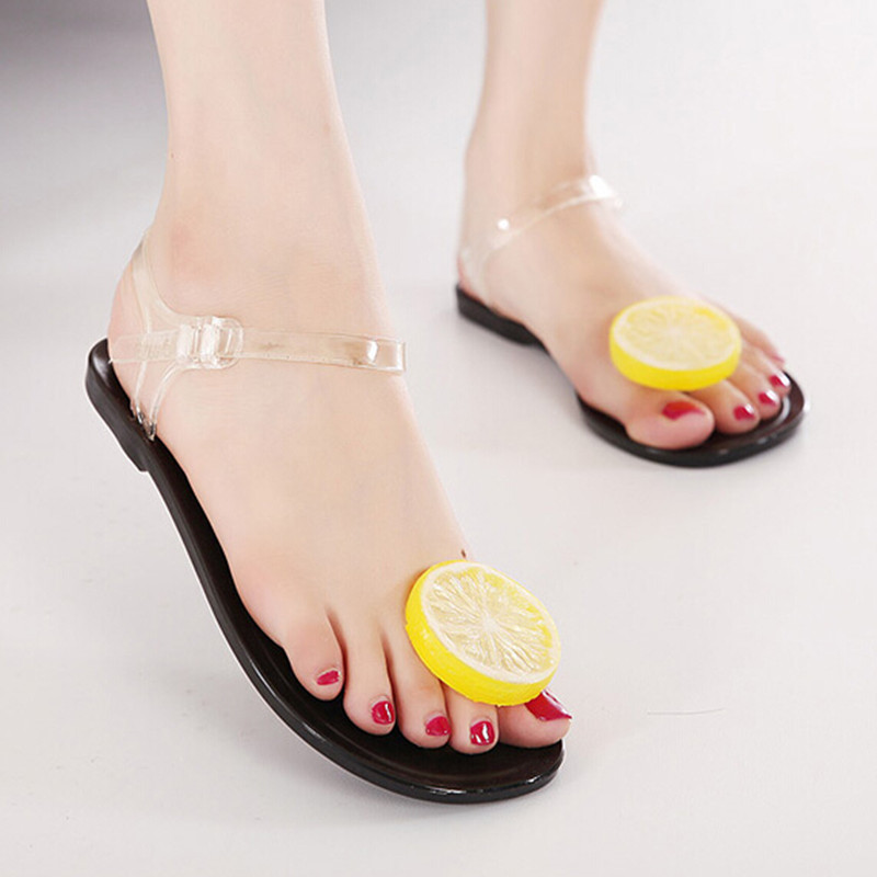 2016 New Summer Girls Jelly Sandals Female Lemon Flower Plastic Flats Heel Flip-flop Women Beach Shoes Plus Size 35-40