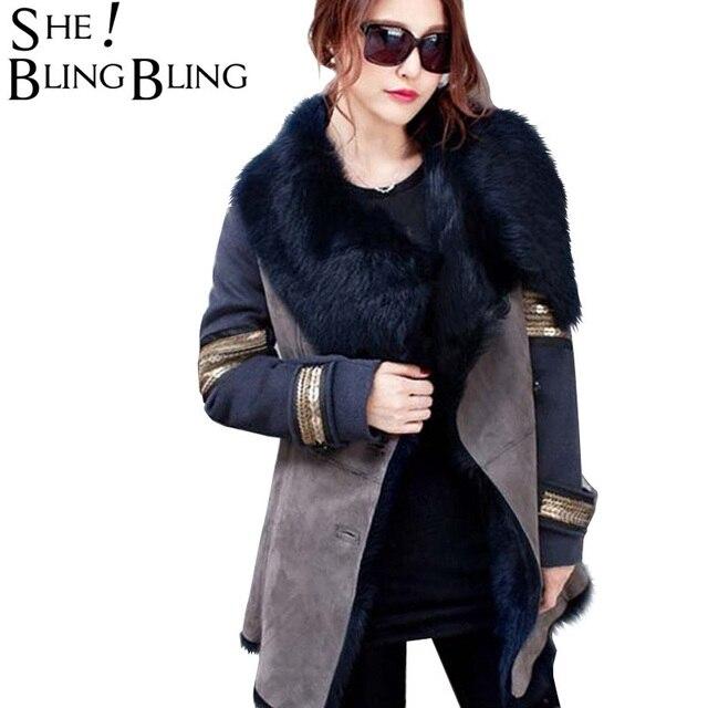 SheBlingBling Military Style 2019 Winter Women Parkas Warm Faux Suede Thicken Jacket Slim Fit Faux Fur Lining Long Women Coats