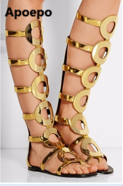 Apoepo Bling golden circle round decorated cut-out knee high back zipper thong sandals for woman in summer big size 35-42