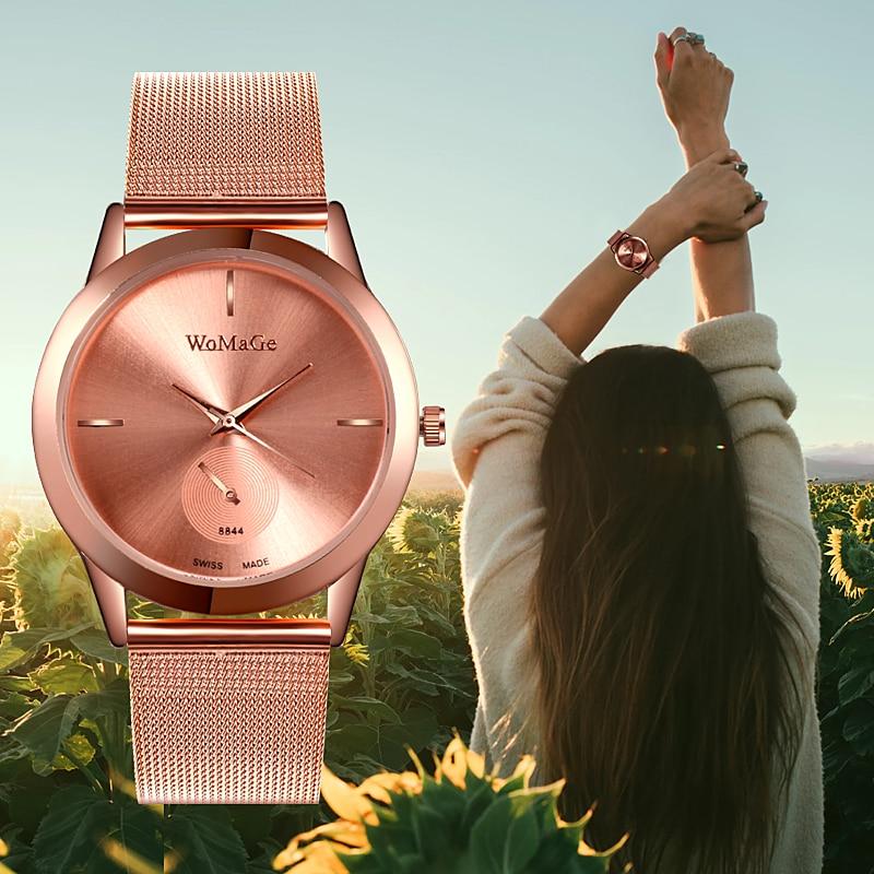 Women Stainless Steel reloj mujer WoMaGe Ladies Rose Gold Watch Elegant Casual Wrist Watch Womens Quartz Clock relogio feminino