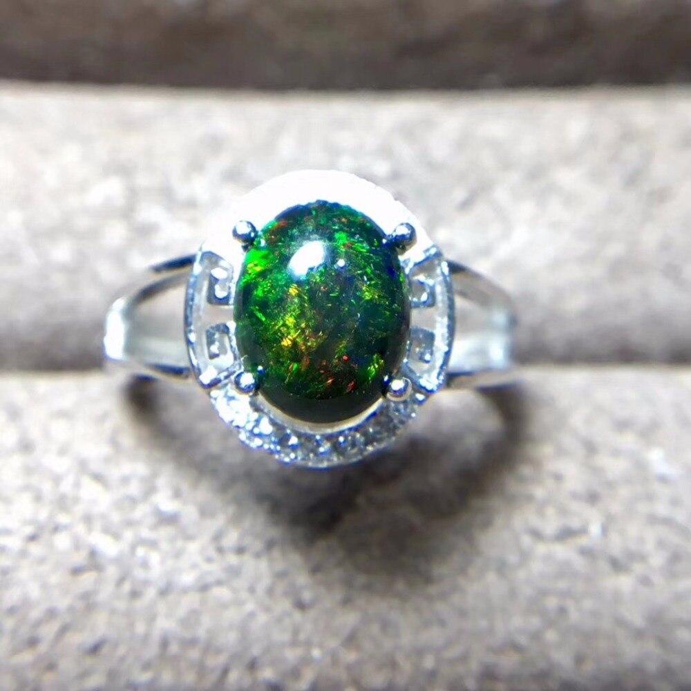 Natural Black Opal Ring 925 Silver 3 Carat Gem Fire Flash Natural Coloured Gemstones Monopoly