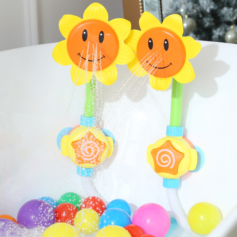 Baby Bath Toy Bathing Tub Sunflower Shower Faucet Spray Water Swimming Bathroom Bath Toys For Children Funny Water Game image