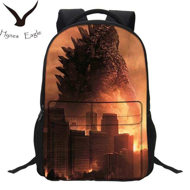 Hynes Eagle Brand Backpacks Zilla Monster Prints Travel Bag Casual Laptop Double Shoulder Mochila