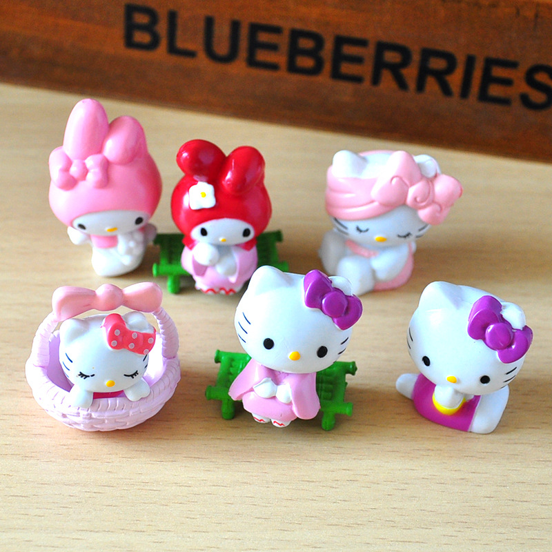 6 Pcs/set cute Hello Kitty action figure toys 5cm mini PVC cartoon cat model collection toys girls Christmas Birthday Gifts free shipping 2016 new 13pcs set hello kitty action figure anime kids toys kids toys for girls play house toys gifts