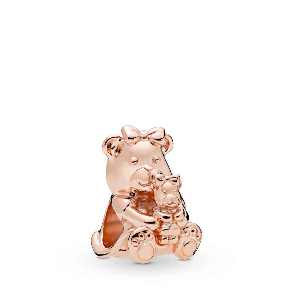 2019 nowy 1pc prezent na dzień matki rose różowy złoty mama syn miłość życia dora niedźwiedź diy koralik pasuje bransoletka typu charm Pandora dla kobiet F053