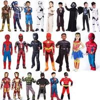 Spiderman Superman Iron Man Cosplay Costume For Boys Carnival Halloween Costume For Kids Star Wars Deadpool