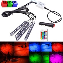 4-Piece 8 Colors Car Interior Light Strips 9LED 6W Waterproof Neon Decoration Lamp LED, Interior Underdash Lighting Kit, C