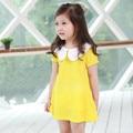 2017 летний стиль новорожденных девочек одеваться мода желтый с коротким рукавом платья 100% хлопок лепесток воротник 13D-6