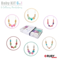 DIY Set Silicone Beads 6 Breast Feeding Necklace Baby Teether Safe Food Grade Nursing Chewing Round