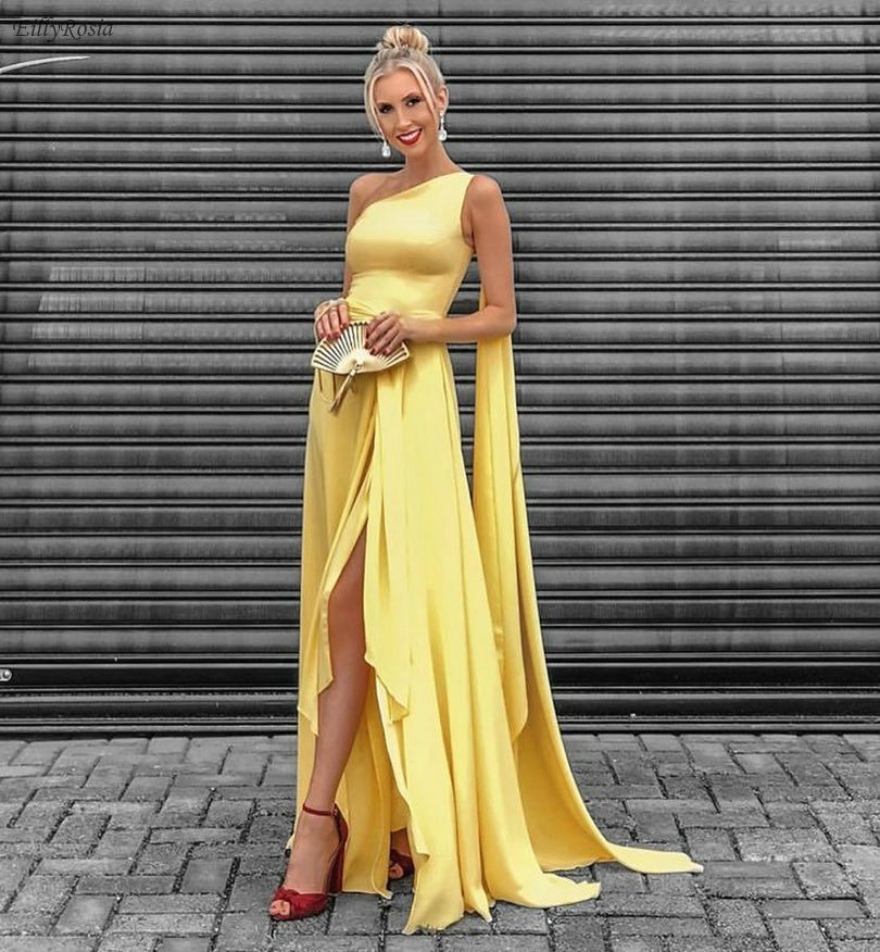 EillyRosia 2019 Yellow Prom Dress Long One Shoulder Sexy Side Split Floor Length Elegant Party Gowns Vestidos Cerimonia Longos