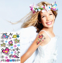 Colorful Love Heart Child Temporary Flash Tattoo Body Art Sticker 17x10cm Waterproof Tatoo Painless Henna Selfie Tattoo Stickers