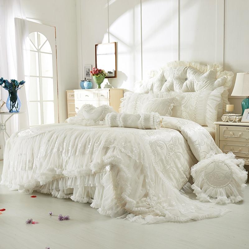 Ev ve Bahçe'ten Yatak Takımları'de Pamuk dantel jakarlı yatak takımları boho düğün lüks dekoratif kraliçe kral boyutu 4/8 adet bedskirt + yastık kılıfı + nevresim yatak örtüsü seti'da  Grup 1