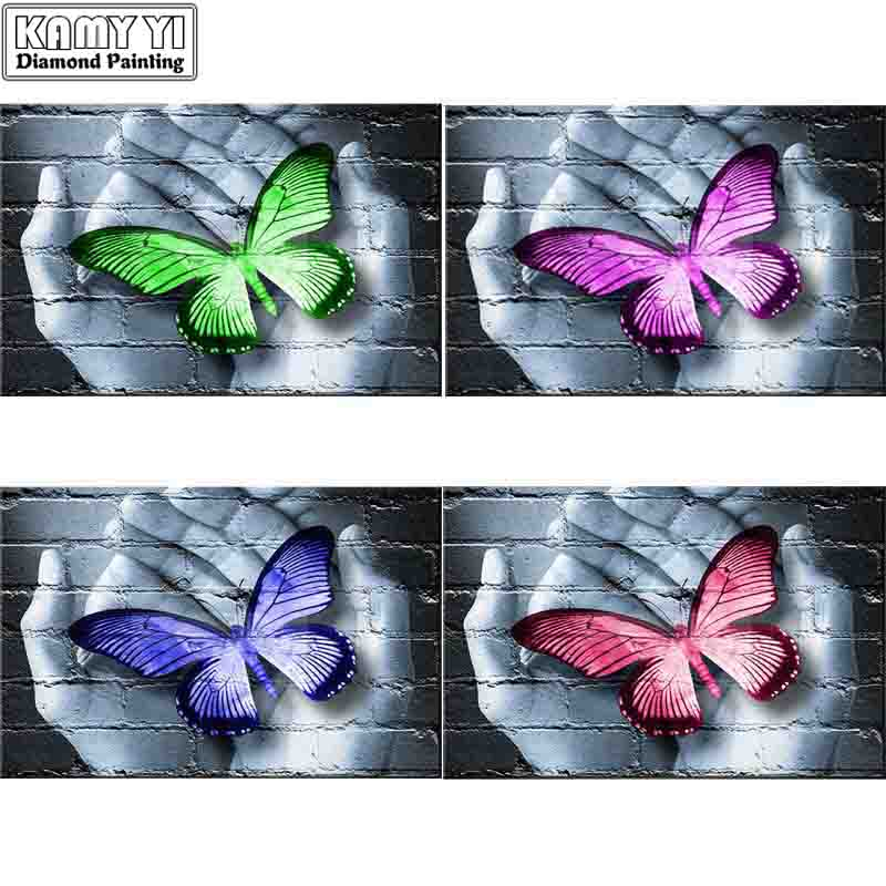 Full Square Diamond 5D DIY Diamond Painting Butterfly And Hand Diamond Embroidery Cross Stitch Rhinestone Mosaic Decoration