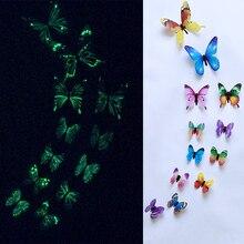 12 unids/set luminoso adhesivo para pared de mariposa mariposas para sala de estar decoración para fiesta de boda hogar 3D pegatinas de nevera papel tapiz
