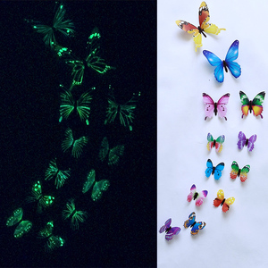 12Pcs/set Luminous butterfly Wall Sticker living room Butterflies for wedding Party decoration Home 3D Fridge stickers wallpaper(China)