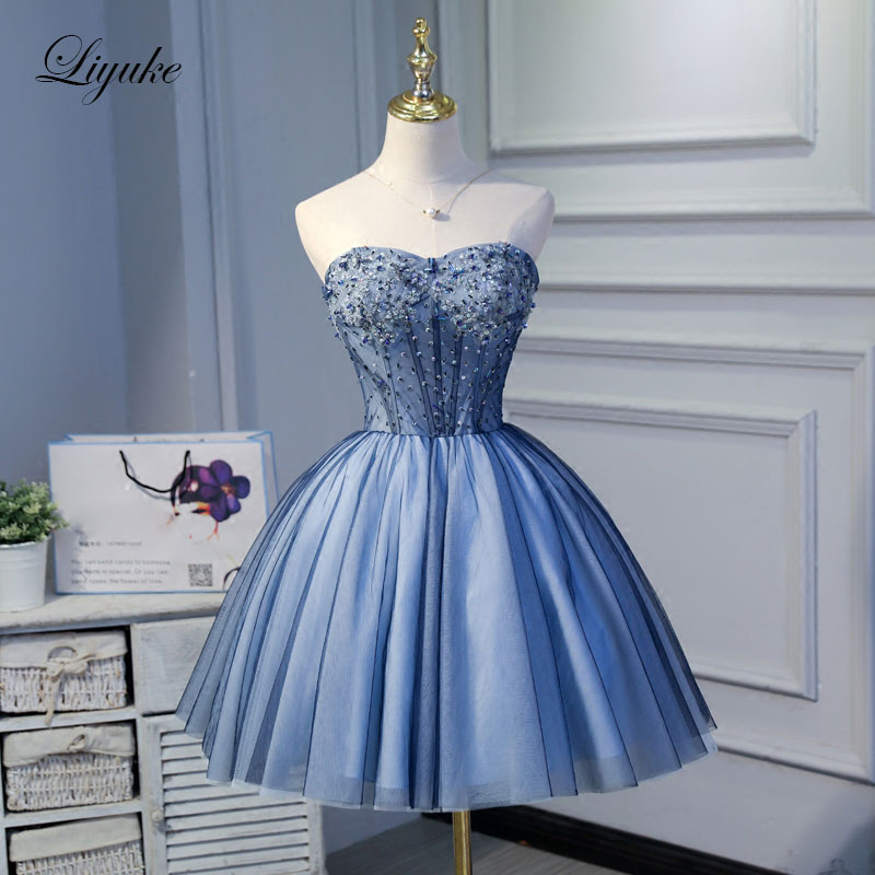 Liyuke Ruched Sky Blue   Prom     Dress   A Line Strapless Party   Dress   Knee-Length Beading Formal   Dresses   Custom Made New