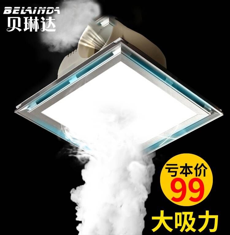 Kitchen Ceiling Exhaust Fan With Light: Integrated Ceiling Ventilator Illumination With Led Light