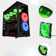 Factory price Hot Selling 15 LED Light Quite 120mm DC 12V 4Pin PC Computer Case Cooling Cool Fan Mod Free Shipping Good Quality