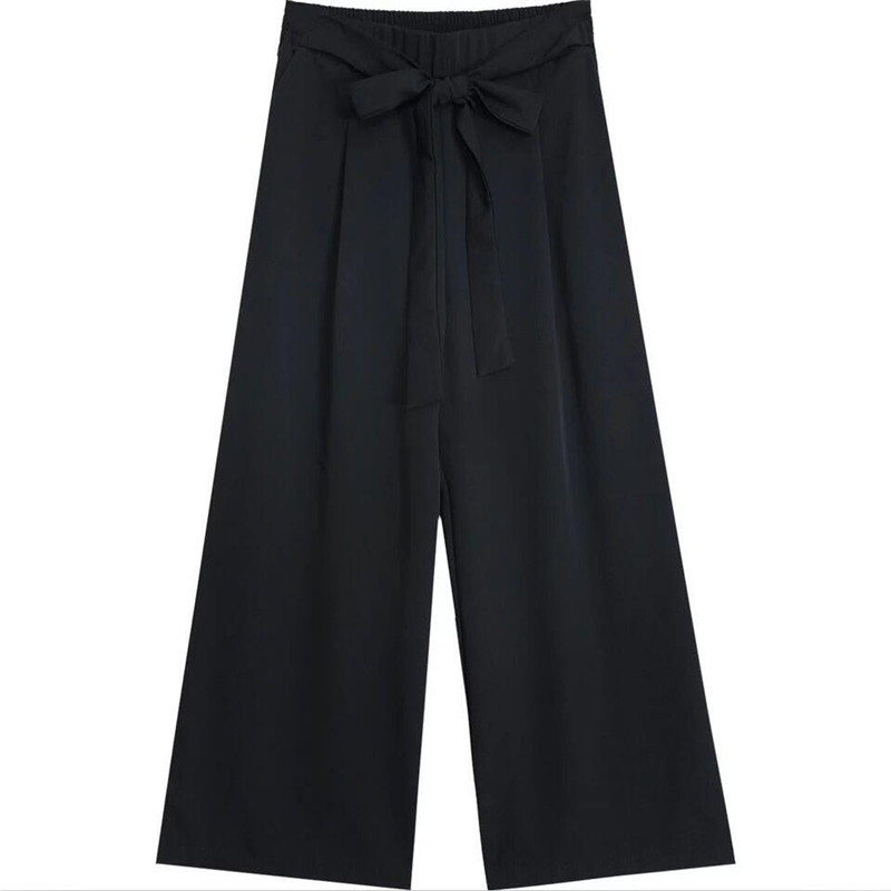 Korean Style 2019 Street Casual Mid Calf Pants Big Size M-7XL Summer Sweet Trousers With Sashes Straight Pants Girls Chiffon