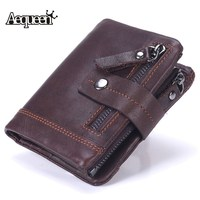 AEQUEEN 100 Genuine Leather Men Short Wallet Coin Purse High Quality Vintage Credit Card Holder Coin