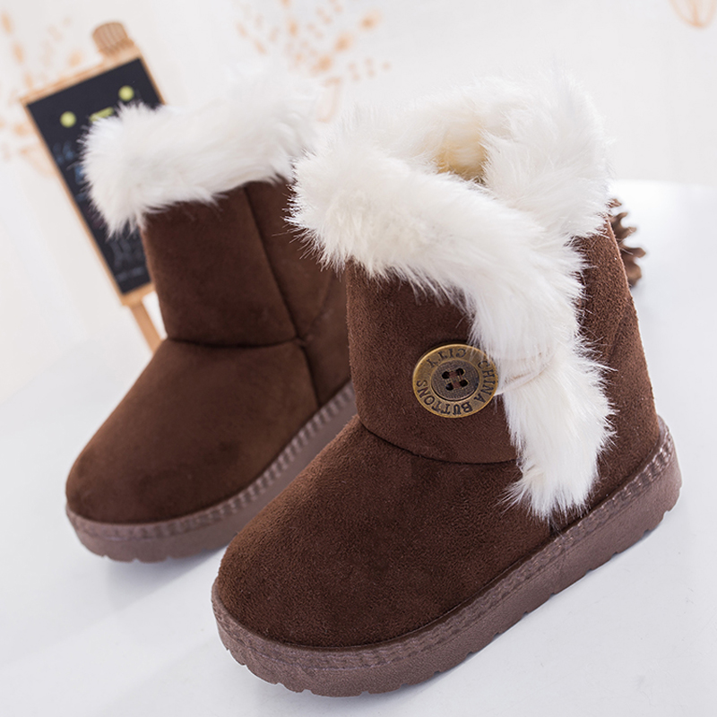 SKOEX Winter Children Boots Faux Suede Furry Lined Boys Girls Snow Boots Soft Ankle Buckle Warm Kids Shoes (Baby / Little Girls)