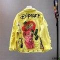 Красная/желтая джинсовая куртка новая весенне-осенняя женская джинсовая куртка с кружевным бантом и принтом граффити базовое пальто для ст...