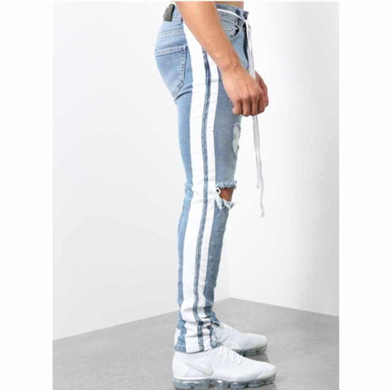 Moomphya 2019 Distressed Holes Side Stripes Skinny Jeans Men Streetwear Hip Hop Ripped Jeans For Men Denim Pants Men Jeans Blue