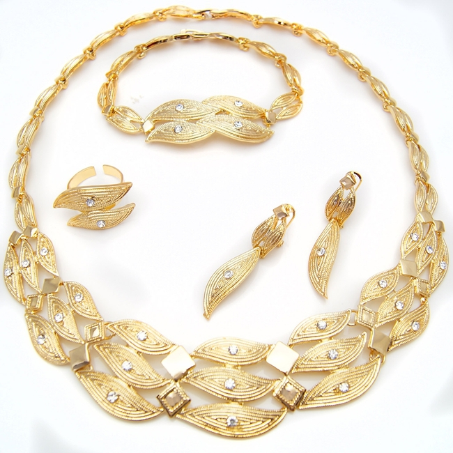 SHIPPING FREE 18k gold jewelry set in latest design wholesale china