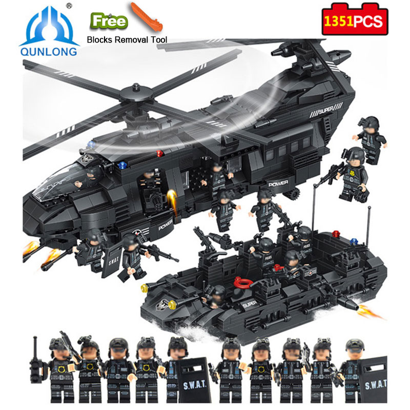Qunlong 1351pcs Military Swat Team Toys WAT Team Transport Helicopter Bricks Compatible Minecrafted City DIY Police