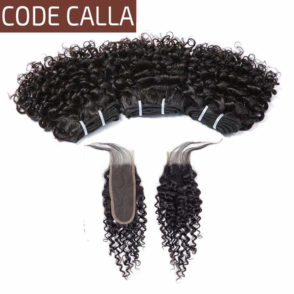 Code Calla Kinky Curly Bundles With Lace Closure Malaysian Raw Virgin Human Hair Weave Bundles With 2X6 kIM K Closure For Salon