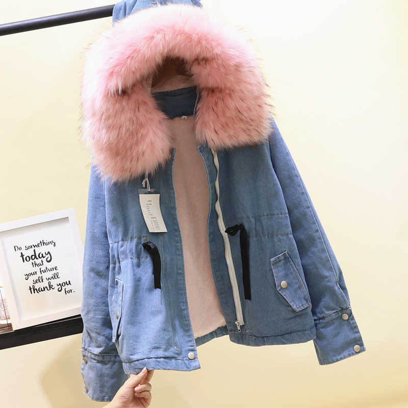 Европейский искусственный мех утолщение с капюшоном большой меховой  воротник джинсовая куртка пальто одежда зима Новый Свободные 0b4a9ecb259